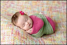 Double newborn wrap in pink and green. http://crystalleephotography.com
