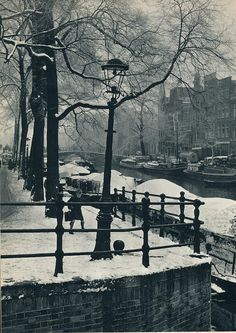 1957. Amsterdam canal in the Winter of 1957. Photo Ed van Wijk. #amsterdam #1957 #Canals