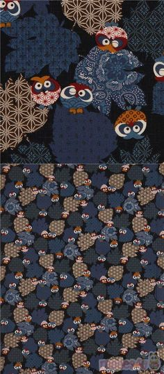 navy blue fabric with owls, leaf silhouettes with patterns such as asanoha etc., Material: 100% cotton, Fabric Type: smooth cotton printed sheeting fabric #Cotton #Animals #AnimalPrint #Owls #JapaneseFabrics