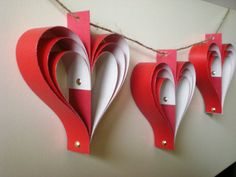 red hearts garland paper bunting ornament home decor by jujucards, £8.50