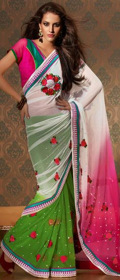 #White and Parrot #Green Net #Saree With #Blouse