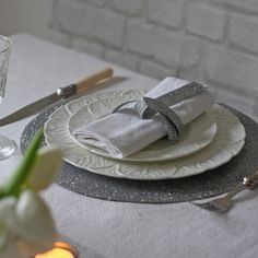 Silver Glitter Place Mat available from www.theweddingofmydreams.co.uk @The Wedding of my Dreams