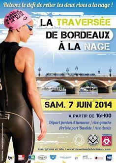 La traversée de Bordeaux à la nage. Le samedi 7 juin 2014 à Bordeaux.