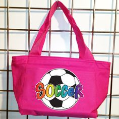 Rainbow Soccer Ball Insulated Lunch Bag (Hot Pink) - LikeWear