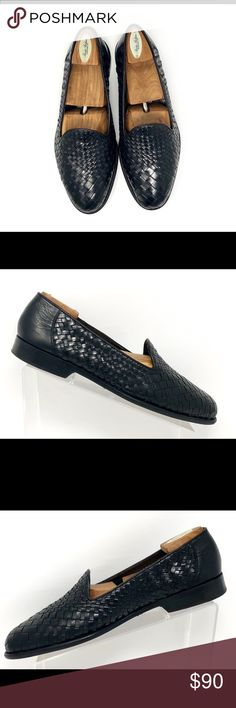 7a2a30ccd9bc5 Cole Haan Bragano Black Leather Woven Loafers