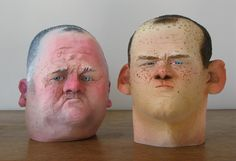 "London-based freelance artist / ""headbuilder"" Wilfrid Wood creates humorous sculptures that look like three-dimensional caricatures. Wilfrid has produced work for clients including ASOS and Puma,… Caricature, 3d Portrait, Portraits, Clay Figures, Wood Sculpture, Community Art, Ceramic Art, Amazing Art, Art Dolls"