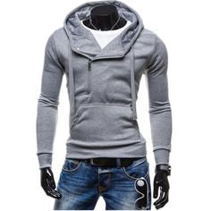 Men's solid color zipper head men's pullover hooded casual