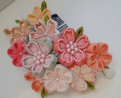 Colorful Cherry blossom made of Chirimen,Kimono fabric Ribbon Art, Ribbon Crafts, Flower Crafts, Ribbon Bows, Fabric Crafts, Cloth Flowers, Diy Flowers, Fabric Flowers, Kanzashi Tutorial