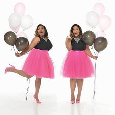 Space 46 fuchsia tulle skirt, anniversary photoshoot, balloons, plus size model, hot pink pumps Plus Size Birthday Outfits, 30th Birthday Outfit, 25th Birthday, Girl Birthday, Birthday Ideas, Birthday Goals, Husband Birthday, Hot Pink Pumps, Affinity Photo