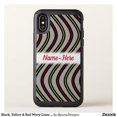 Black, Yellow & Red Wavy Lines Pattern + Name Cool Phone Cases, Iphone Case Covers, Line Patterns, Red Gifts, Pattern Names, Cool Diy, Black N Yellow, Unique Gifts, Red Style