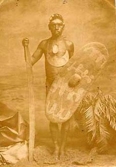 Aboriginal chief with club and shield, Photographer: Captain Sweet - South Australia 1870's The designs on the shield suggest this photograph was taken in the Murray River area near the New South Wales border.