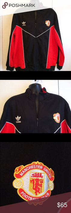 """NWT Manchester United Adidas Black Red Jacket 2XL The Iconic Adidas Superstar Track Jacket gets treated to the vintage crest of the legendary Football Club Manchester United. Laid flat measurements: 25"""" Chest ( approximately 50""""), 30"""" Length from Shoulder to Bottom of Jacket adidas Jackets & Coats"""
