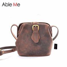 AbleMe Girls One Shoulder Handbag High Quality Handmade Leather Messenger Bag Belt Open Vintage Solid Color Women Crossbody Bgas