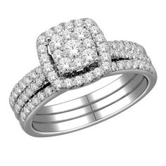 @Overstock - Round-cut white diamond bridal ring set10-karat white gold jewelryClick here for ring sizing guidehttp://www.overstock.com/Jewelry-Watches/10k-White-Gold-1ct-TDW-Diamond-Imperial-Bridal-Halo-Ring-Set-H-I-I2/6159110/product.html?CID=214117 $1,103.99