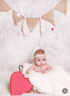 Amanda Abraham Photography specializing in newborn and child photography. Using fun props to enhance your photo experience in the Metro Detroit area! www.amandaabrahamphotography.com Baby girl 3 Month Valentine themed session in studio with her pet dog!