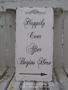 HAPPILY EVER AFTER Begins Here Sign Vintage by MyPrimitiveBoutique