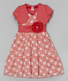 Another great find on #zulily! Coral Floral Lace Dress & Bolero - Toddler & Girls #zulilyfinds