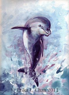 """PRINT (""""DOLPHIN"""") Watercolor (Signed & Ready to Frame) - E. Chan 