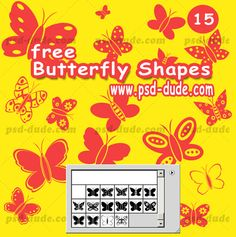 Butterfly Photoshop Custom Shapes by psd-dude photoshop resource made by psd-dude.com