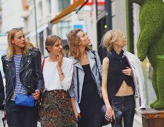 Frida Gustavsson, Tilda Lindstam, Jac Jagaciak and Hanne Gaby Odiele after Valentino Haute Couture Fall 2013, Paris