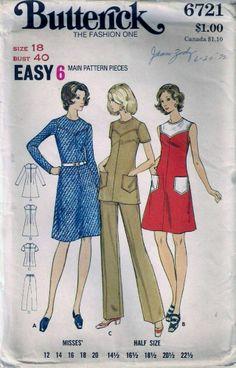 Vintage 70s Dress Tunic & Pants Sewing Pattern 6721 B40 Plus Size 18  $6.72