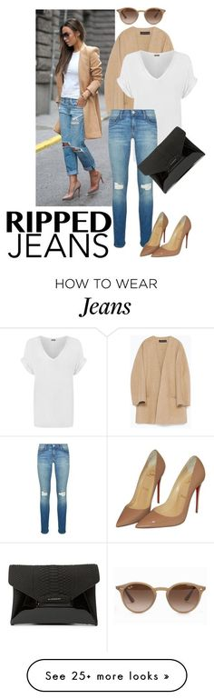 """""""photograph"""" by deva-1998 on Polyvore featuring Zara, WearAll, Rebecca Minkoff, Christian Louboutin, Givenchy, Ray-Ban, StreetStyle, rippedjeans and fashionblogger"""