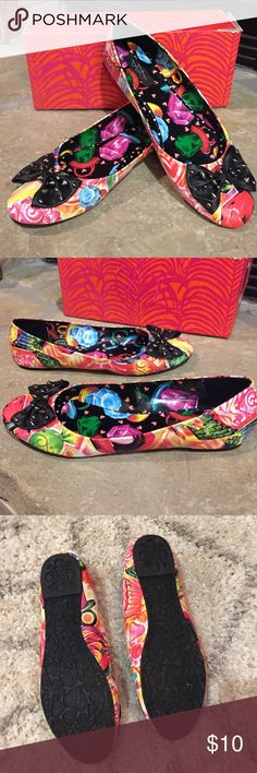 Fun Iron Fist Flats Cute, colorful and edgy Iron Fist flats called Sweets for my Sweets. Only worn once to a party. Black bows have gunmetal spikes. Candy pattern on the shoe. Manmade material Iron Fist Shoes Flats & Loafers