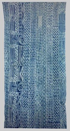 Africa | Indigo strip woven and resist dyed cotton cloth. Known as Ndop Cloth  Baminiki People, Grassland of Cameroon | Mid 20th century. @Deidré Wallace
