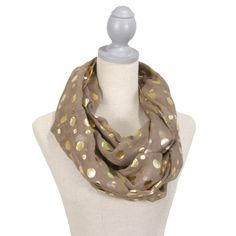 Glamour Polka Dot Scarf (Brown/Gold) FREE SHIPPING www.thepreppypair.com