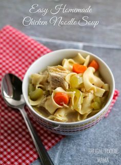 Easy Homemade Chicken Noodle Soup- this comforting family favorite recipe can be on the table in around 30 minutes!