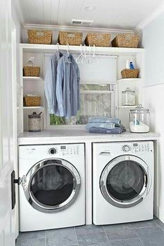 How to Organize a Small Laundry Room, organization for laundry room, laundry room makeover, laundry room decor Country Laundry Rooms, Small Laundry Rooms, Laundry Room Organization, Laundry Room Design, Laundry In Bathroom, Organization Ideas, Storage Ideas, Laundry Shelves, Laundry Decor