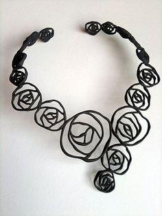 3d Printed# neckless#black#details