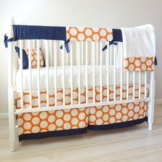 Denim and Sweet Potato Bumperless Crib Rail by babymilanbedding, $230.00