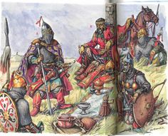 Kipchak Khans and their retainers, late 13th - early 14th c. - art by M. Gorelik