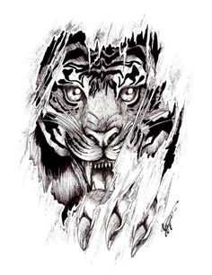 Ripped Skin Tiger Tattoo Design Idea