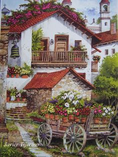 A virtual jigsaw puzzle from Jigidi Landscape Art, Landscape Paintings, Belle Image Nature, Cottage Art, Country Art, Beautiful Paintings, House Painting, Art Pictures, Home Art