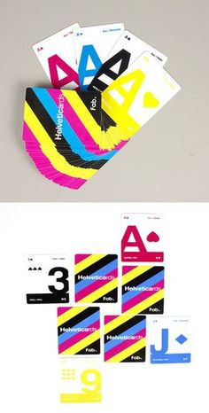 Helvetica CMYK playing cards// want Game Design, Design Art, Design Ideas, Playing Cards Art, Swiss Design, Graphic Design Typography, Deck Of Cards, Graphic Design Inspiration, Creative Design