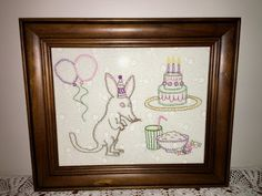 It's party time for Belinda Bilby. The balloons are blown up, the candles are lit and there's plenty of food and drink. This sweet stitchery with a stitching area of 7 x 9 inches (18 x 23 cm), would make a great gift - make it into a cushion, mount it in a frame, stitch it into a wall-hanging. Whatever you choose, it is a delight to stitch and you will enjoy the completed project.  Val Laird Designs