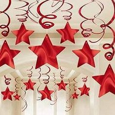 Make an Entrance with these Red Stars and Swirls Hanging Party Decorations!