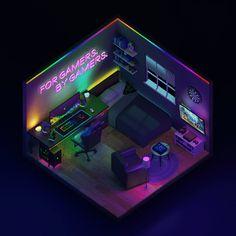 Gamer Bedroom, Bedroom Setup, Room Design Bedroom, Room Ideas Bedroom, Computer Gaming Room, Gaming Room Setup, Gaming Rooms, Cool Room Designs, Basement Designs