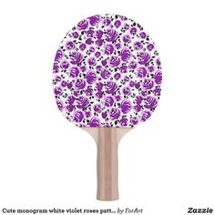 Shop Cute monogram white violet roses patterns Ping-Pong paddle created by ForArt. Ping Pong Paddles, Cute Rose, Roses, Monogram, Patterns, Design, Block Prints, Pink, Rose