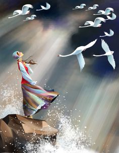"""""""Search for the LORD and for His strength; continually seek Him"""" Psalm [illustration of a woman on a rock with crashing waves staring up at a sky full of swans like in a fairy tale] Art Fantaisiste, Fairytale Art, Children's Book Illustration, Book Illustrations, Whimsical Art, Fantasy Art, Fairy Tales, Drawings, Artwork"""