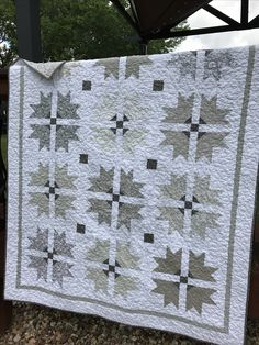 Crown and Cross quilt in various shades of gray fabric, lap size - for Jane, London, England, May 2017 www.etsy.com/shop/thedandypatch