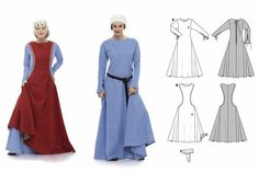 Diy Sewing Pattern-Burda of the Rings, Maid Marian Costume Dress- Size Medieval Fashion, Medieval Clothing, Historical Clothing, Historical Photos, Sewing Dress, Diy Dress, Dress Up, Apron Dress, Vintage Sewing Patterns