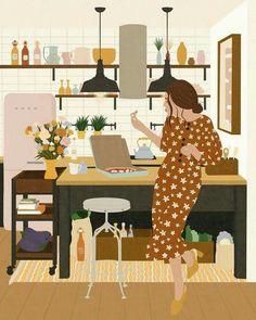 Decorando com a Si : Cozinhas gostosas Art And Illustration, Arte Fashion, Grafik Design, Aesthetic Art, Art Drawings, Hipster Drawings, Couple Drawings, Pencil Drawings, Cute Art