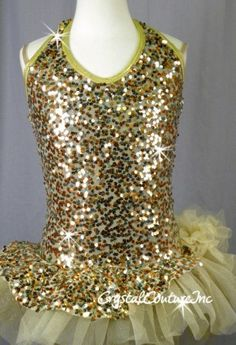 Gold & Bronze Sequin Dress With Attached Skirt/Bustle - Size YL