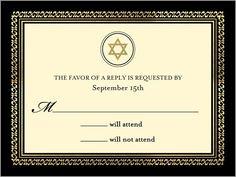 Elegant Frame Bar Mitzvah Response Card, Square, Beige