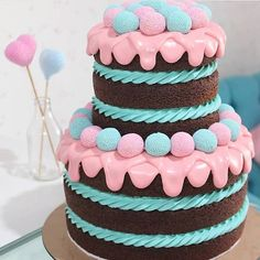 Baby Cakes, Beautiful Cakes, Amazing Cakes, Bolos Cake Boss, Cake Icing Tips, Best Sugar Cookie Recipe, Ice Cream Party, Pastry Cake, Drip Cakes