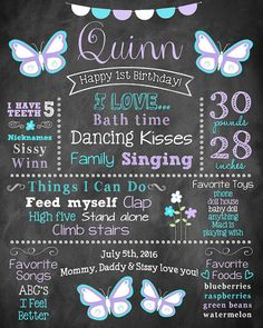 Butterfly Chalkboard Poster First Birthday by greenpapayaprints