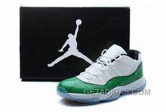 0900871d90f68f Air Jordan 11 Low Top Black White Green